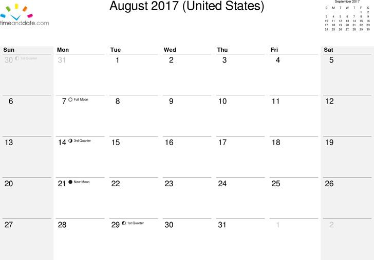 August 2017 Calendar 3