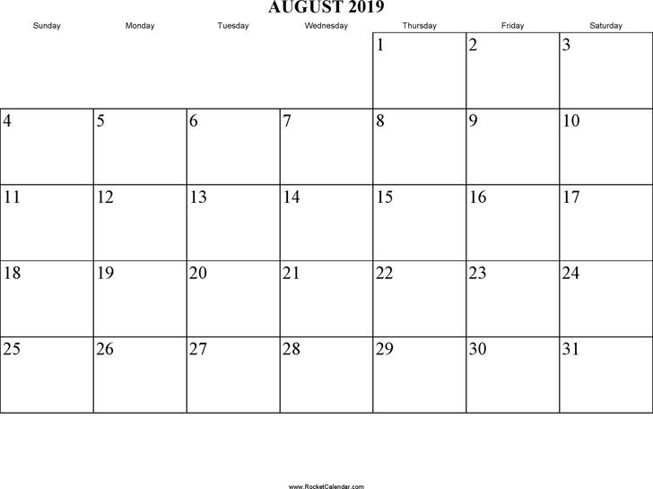 August 2019 Calendar 2