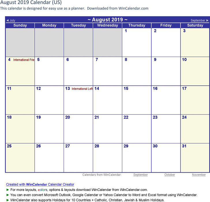 August 2019 Calendar 3