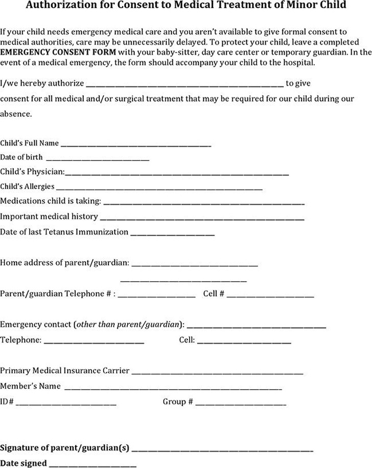 Authorization for Consent to Medical Treatment of Minor Child
