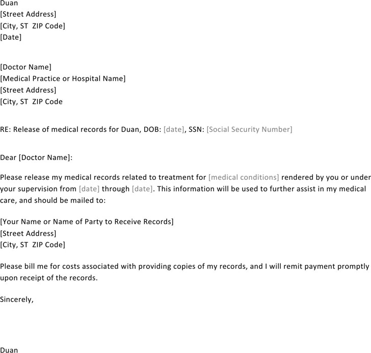 Authorization Letter for Release of Medical Records