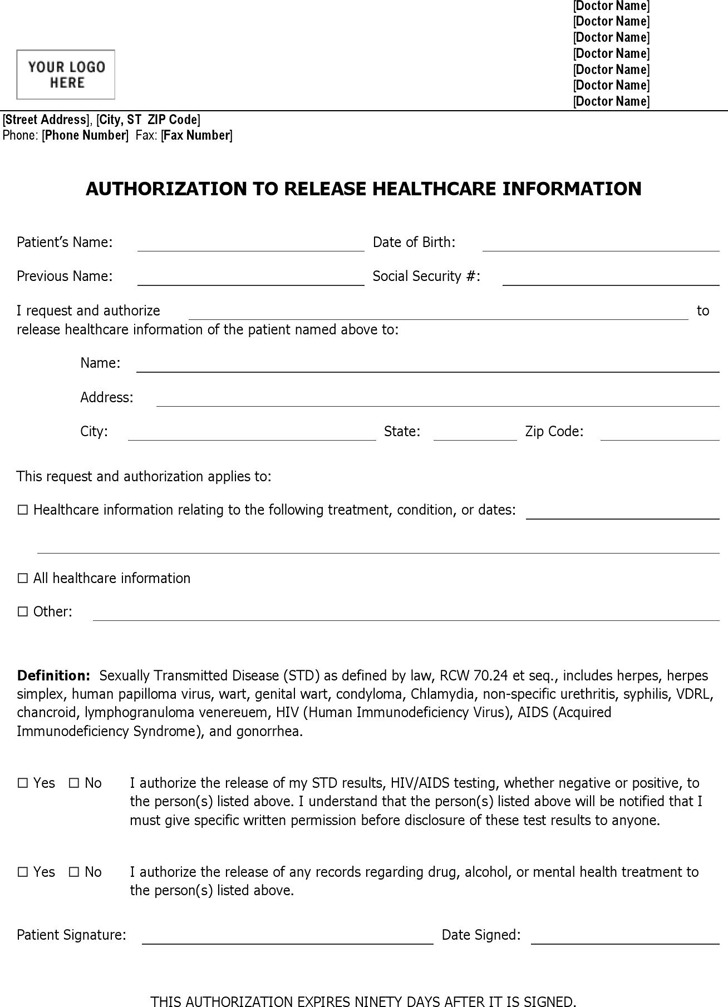 Authorization to Release Healthcare Information