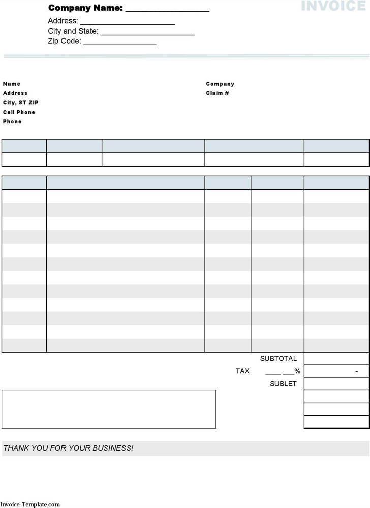 Auto Body Repair Invoice Template