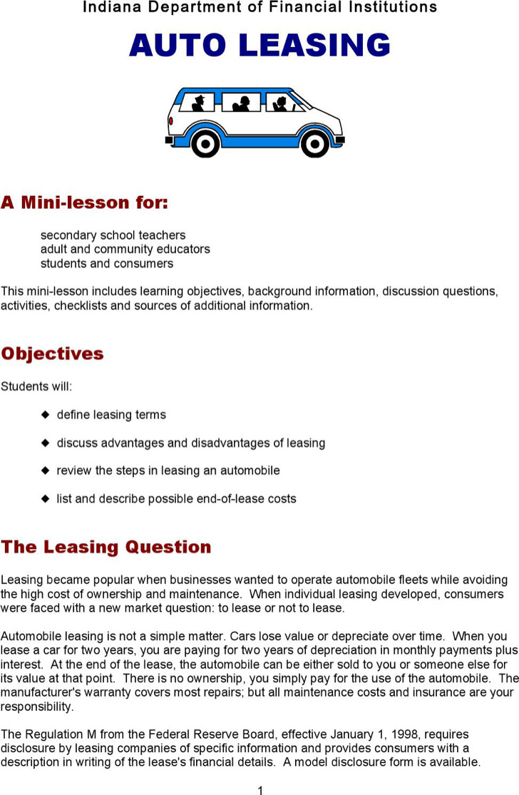 Download Sample Vehicle Lease Templates For Free Tidytemplates