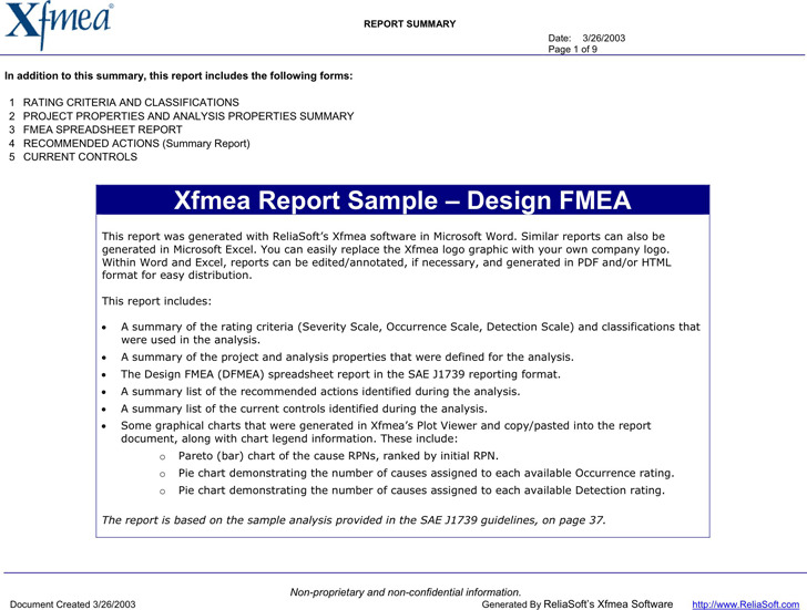 Automotive Design FMEA Example