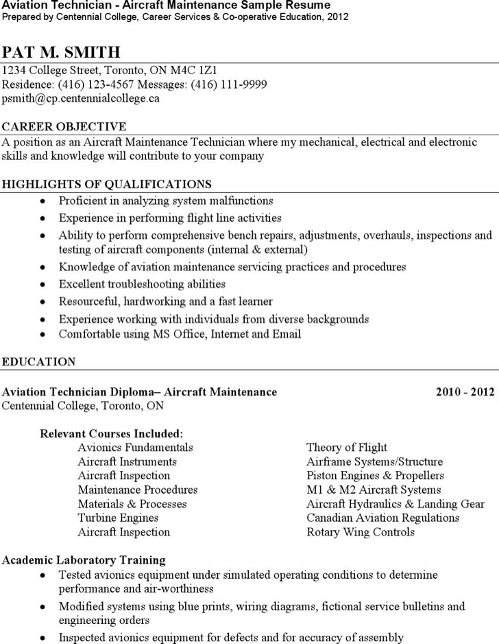 Aviation Electronics Technician Resume