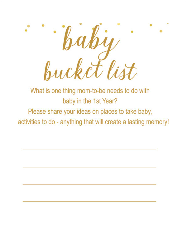 Baby Bucket List Template