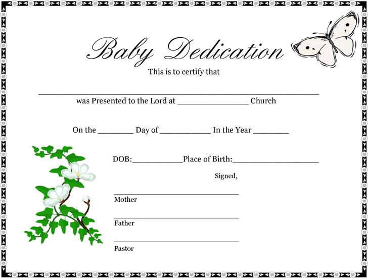 Baby Dedication Certificate 1