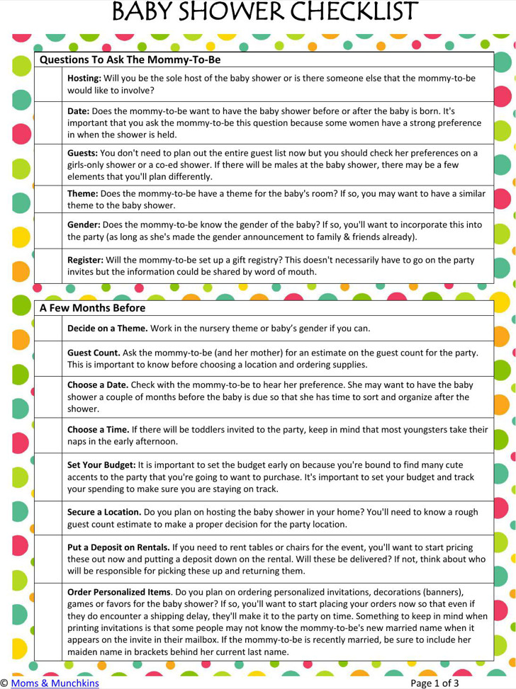 3 baby shower registry checklists free download
