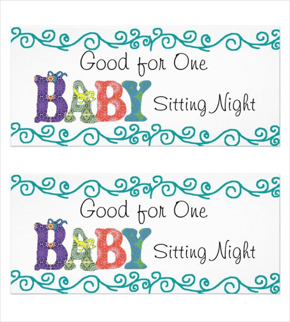 Baby Sitting Coupon Instant Download