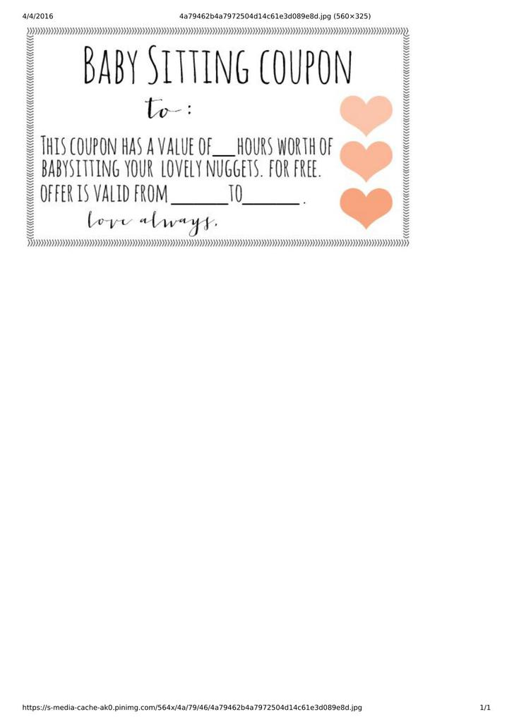 Baby Sitting Coupon With Love Symbols