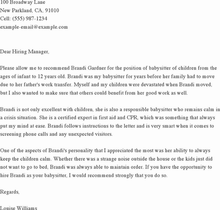 Babysitter Reference Letter For Job