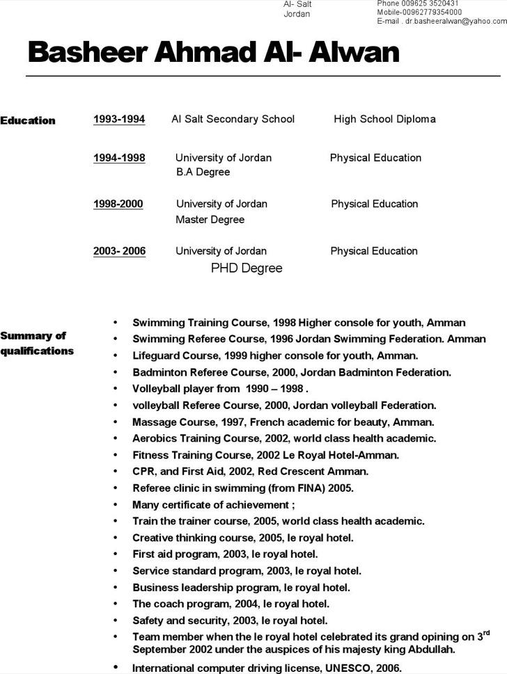 Badminton Referee Resume