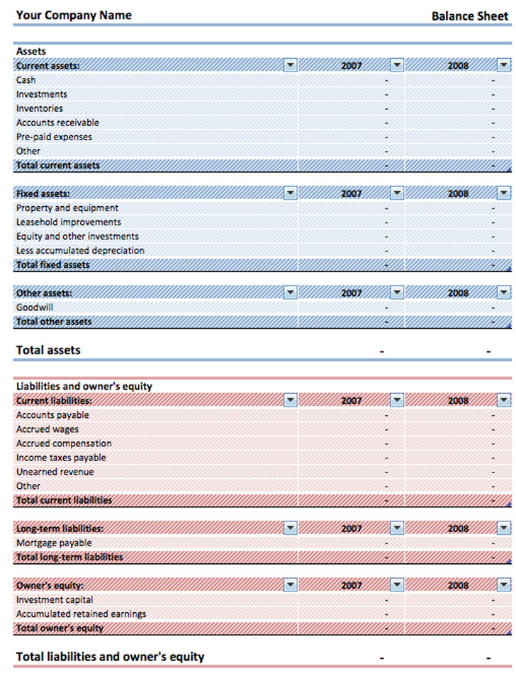 11 balance sheet template free download