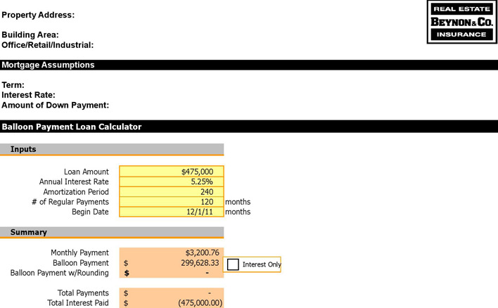 Balloon Payment Loan Calculator