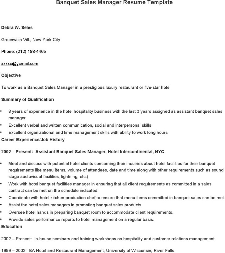 Banquet Sales Manager Resume Template