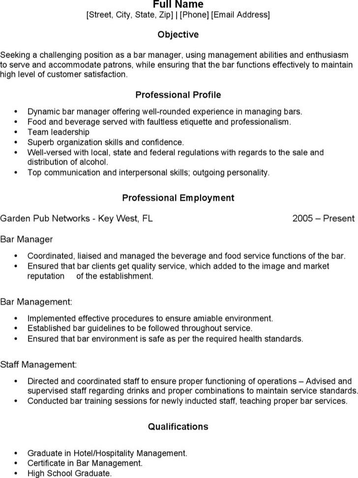 Bartender Manager Resume1