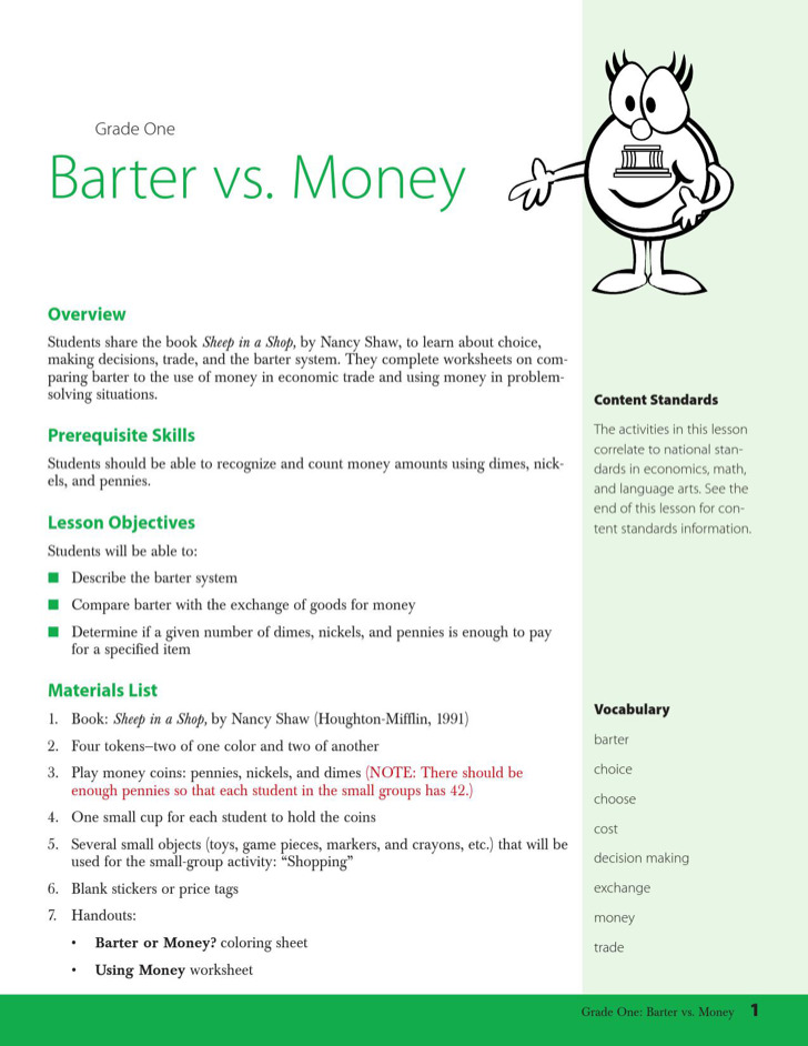 Barter Vs Money Worksheets For Kids Template