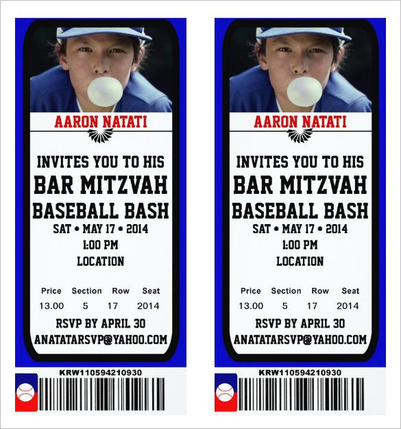 Baseball Bar Ticket Invitation Template