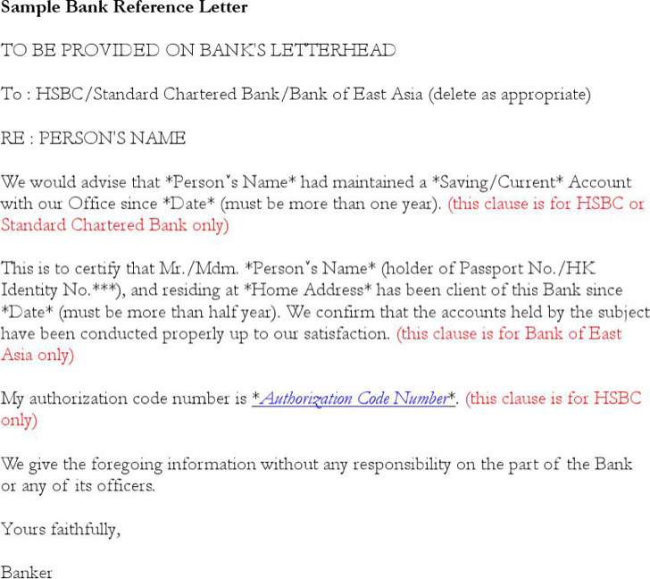Basic Bank Reference Letter