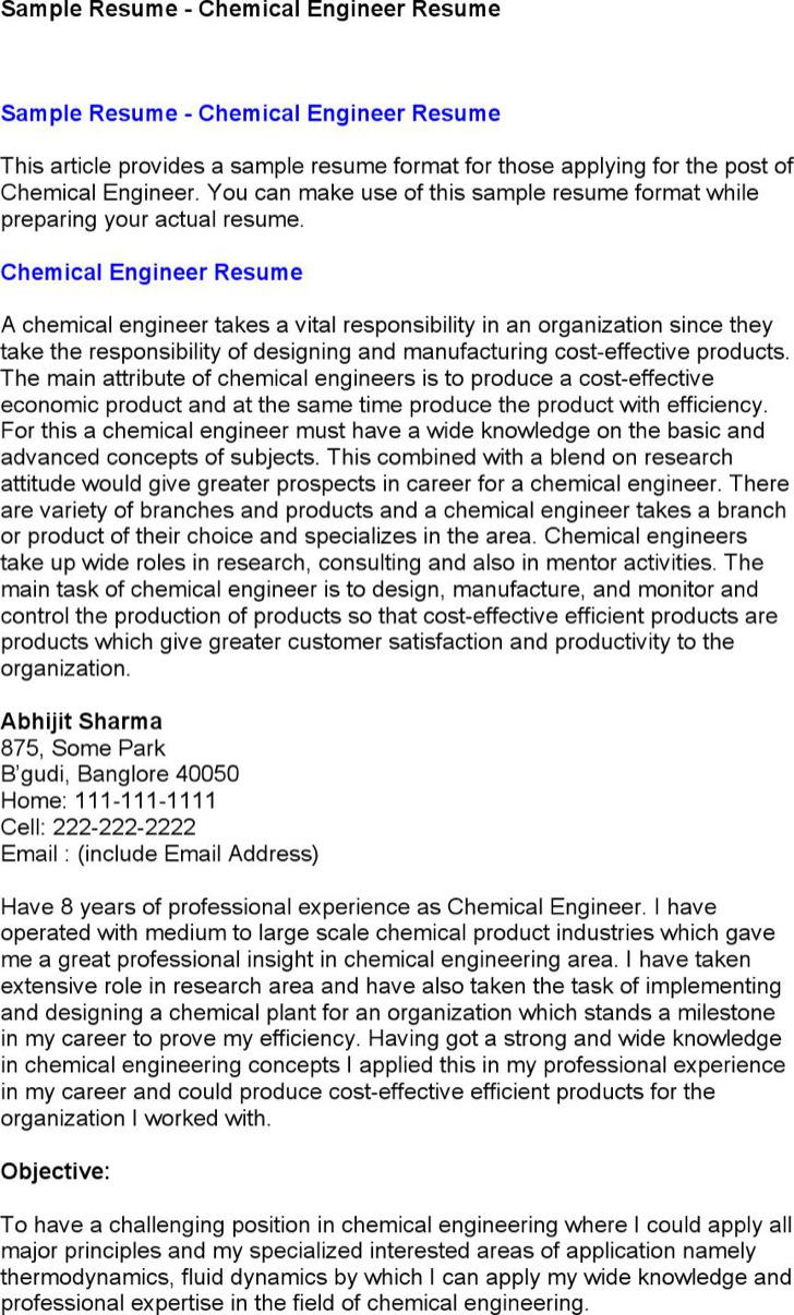 Basic Chemical Engineer Resume