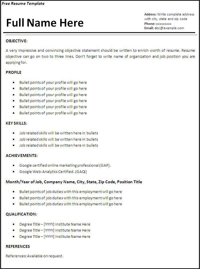 Basic Employment Resume Template