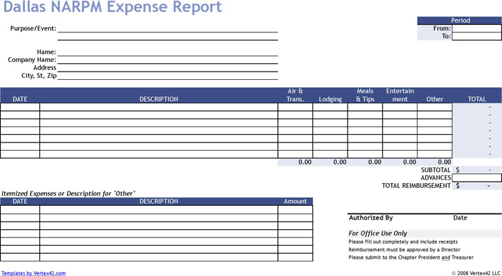 Basic Expense Report Template