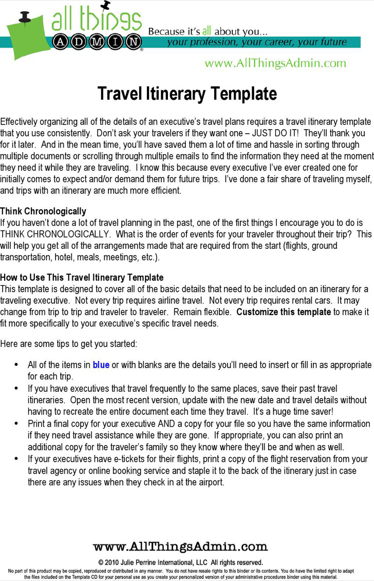 Basic Flight Itinerary Template