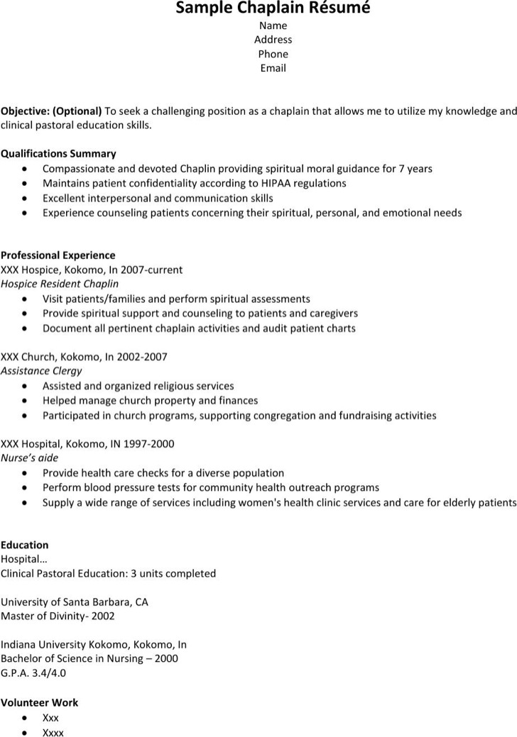 Basic Hospice Resume