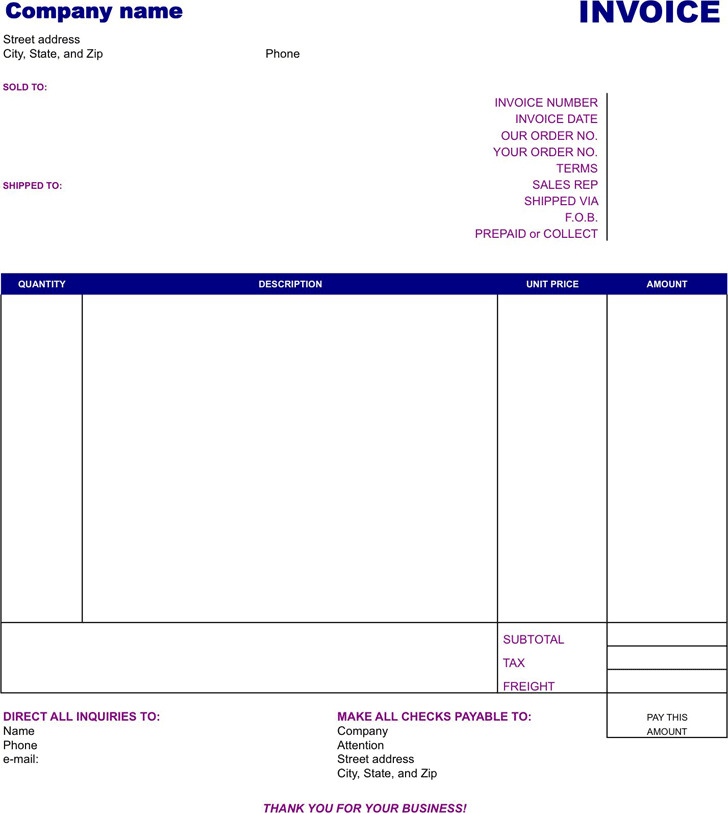 Easy Invoice Template