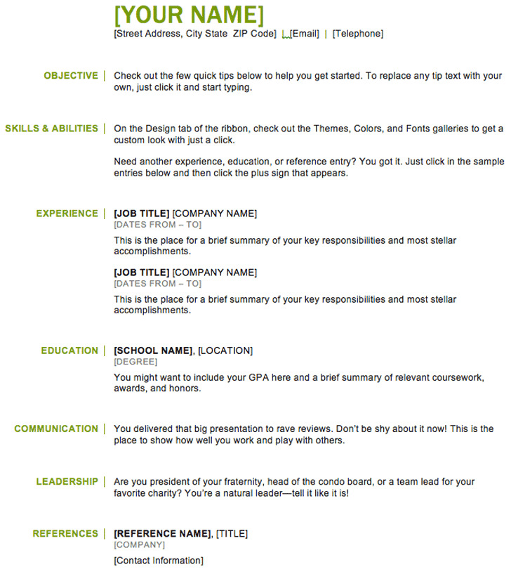 Standard Resume Template Examples: 44+ Basic Resume Template Free Download