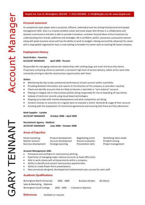 Basic Resume Template for Account Supervisor