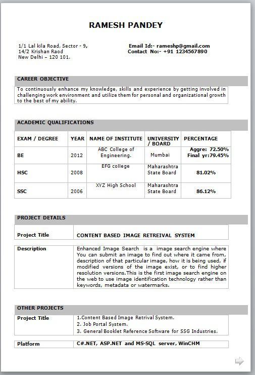 Basic Resume Template for Freshers