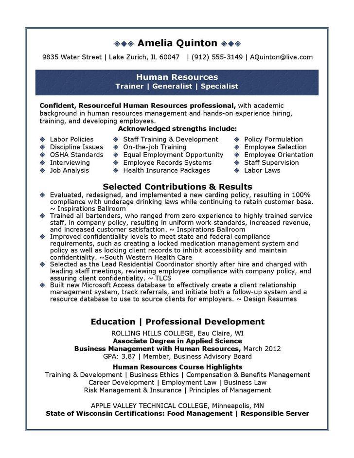 Basic Resume Template for Senior HR Professional