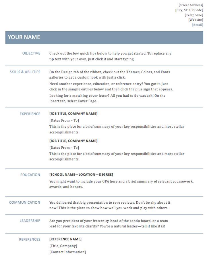 Basic Resume Template (Timeless Design)