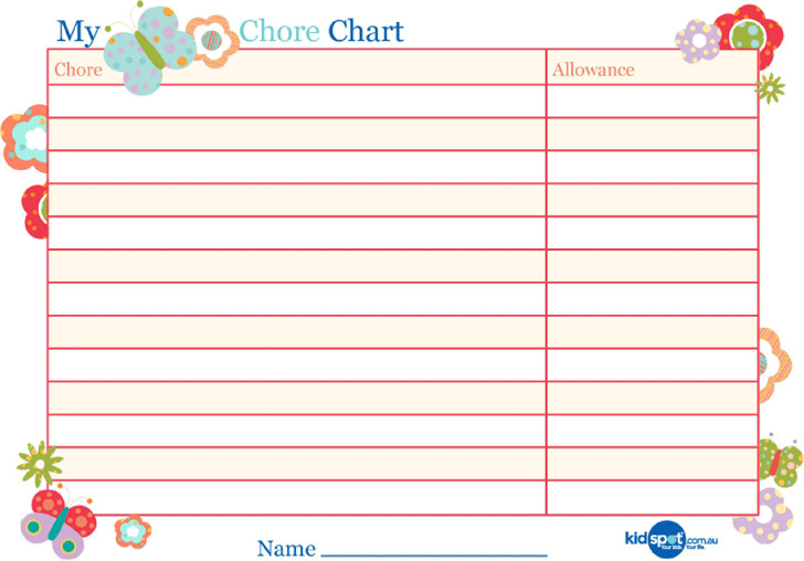 Basic Reward Chart for Girls