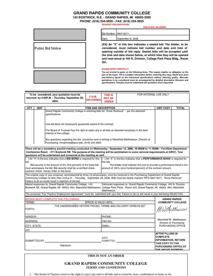 Basic Snow Removal Contract Template