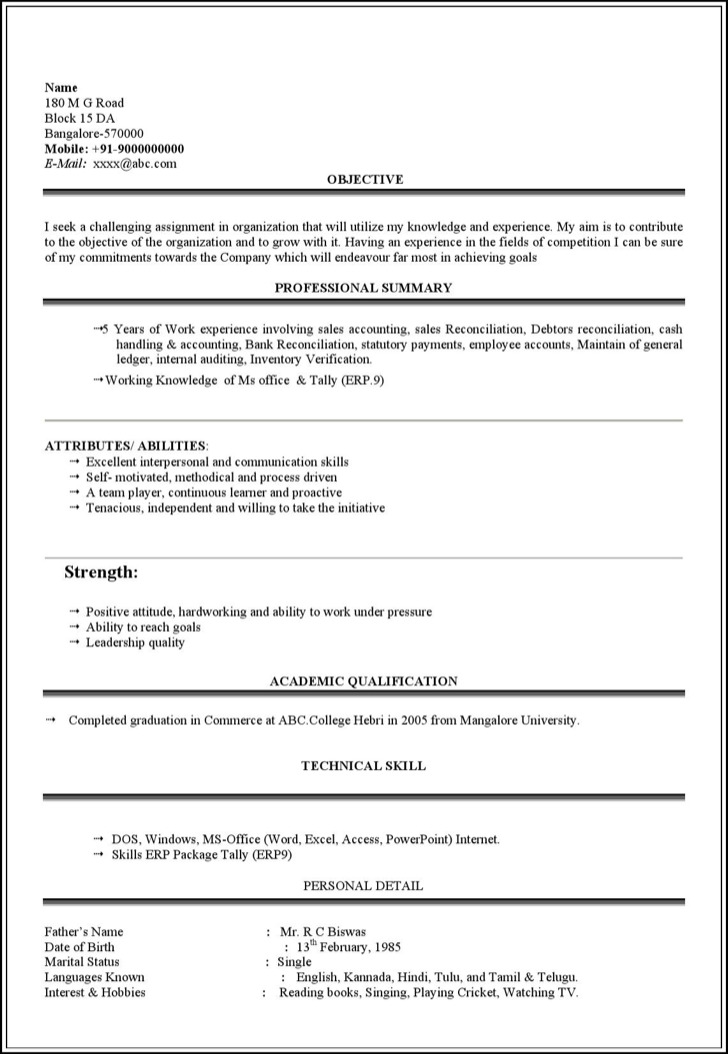 4 Student Resume Template Free Download