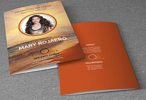Beautiful Funeral Program Card Template