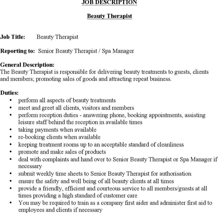 Beauty Therapist Job Description