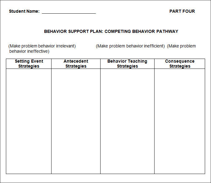 Behavior Support Plan Crisis Template