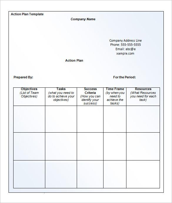Best Action Plan Example Word Document Download