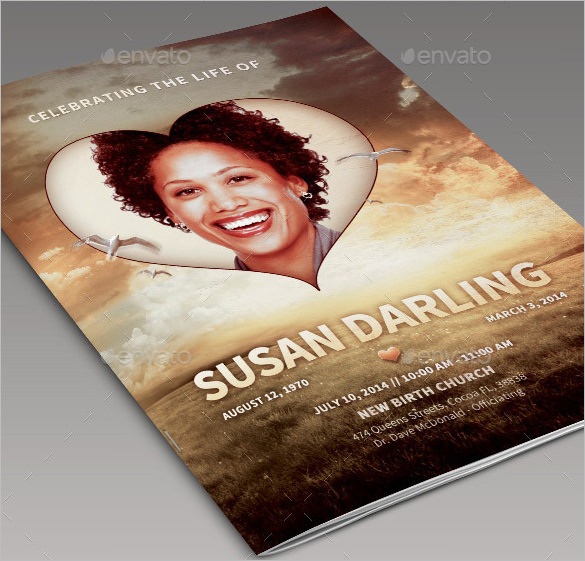 Bi-Fold American Obituary Program Design