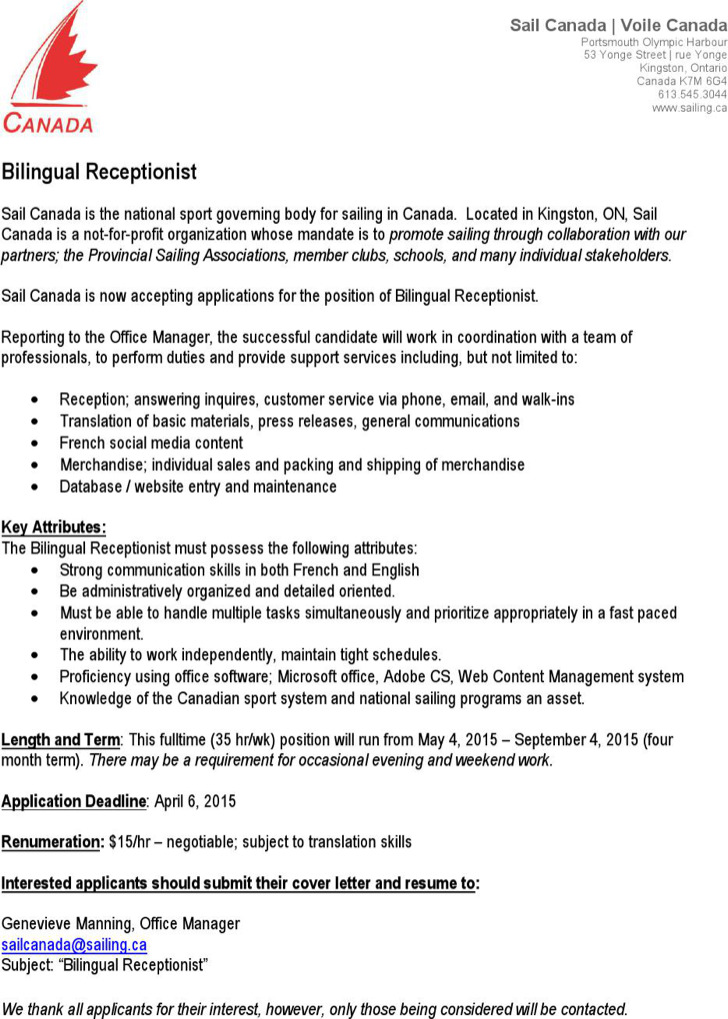 Bilingual Receptionist Resume