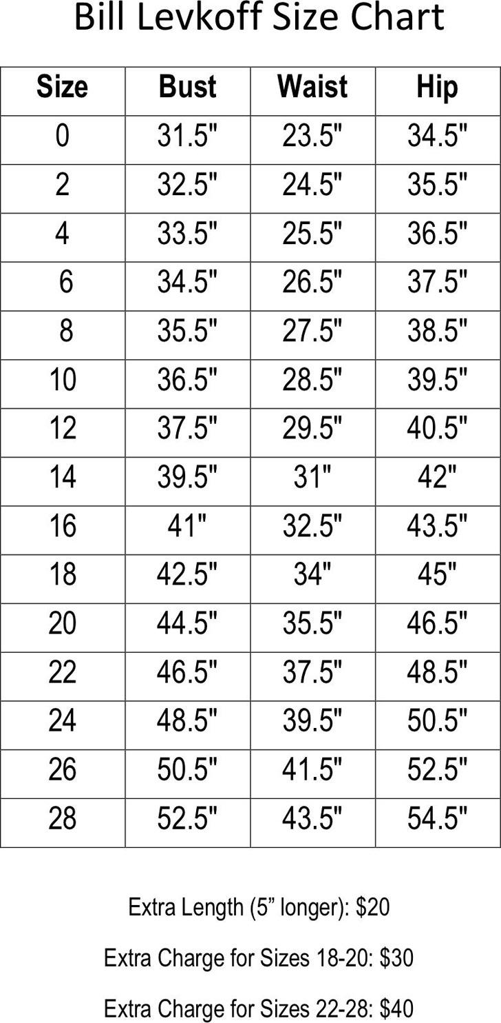 Bill Levkoff Size Chart