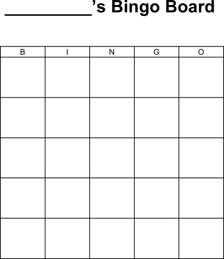 Bingo Board Template Word