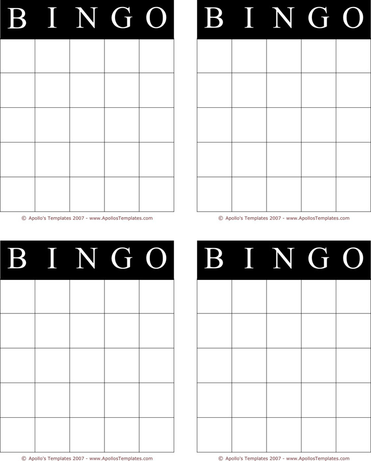 Bingo Card Template 1