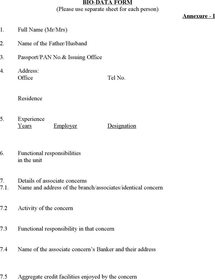 Bio Data Form Format
