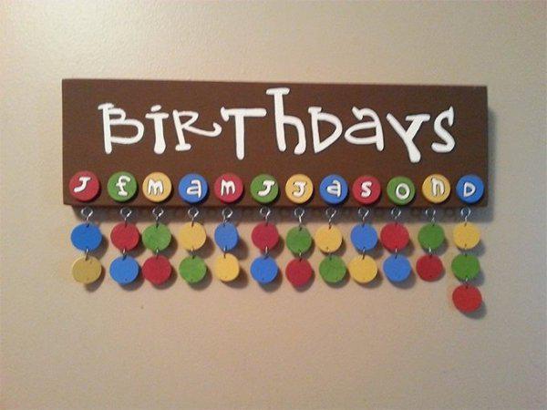 Birthday Calendar Candy Style