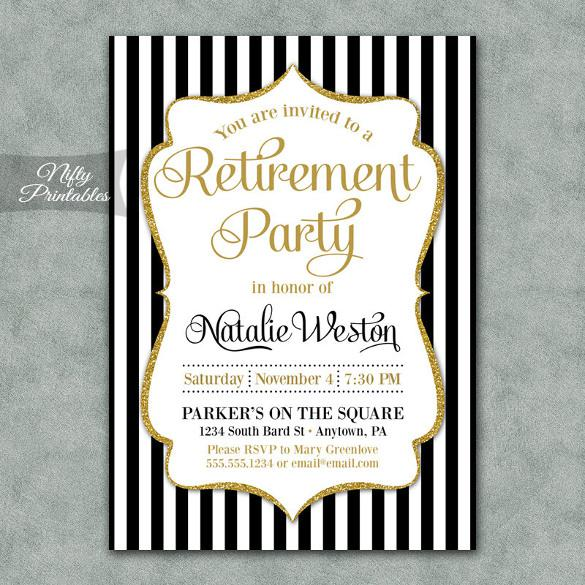 Black & Gold Retirement Invitation